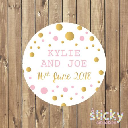 Personalised Wedding Stickers - Pink and Gold Design